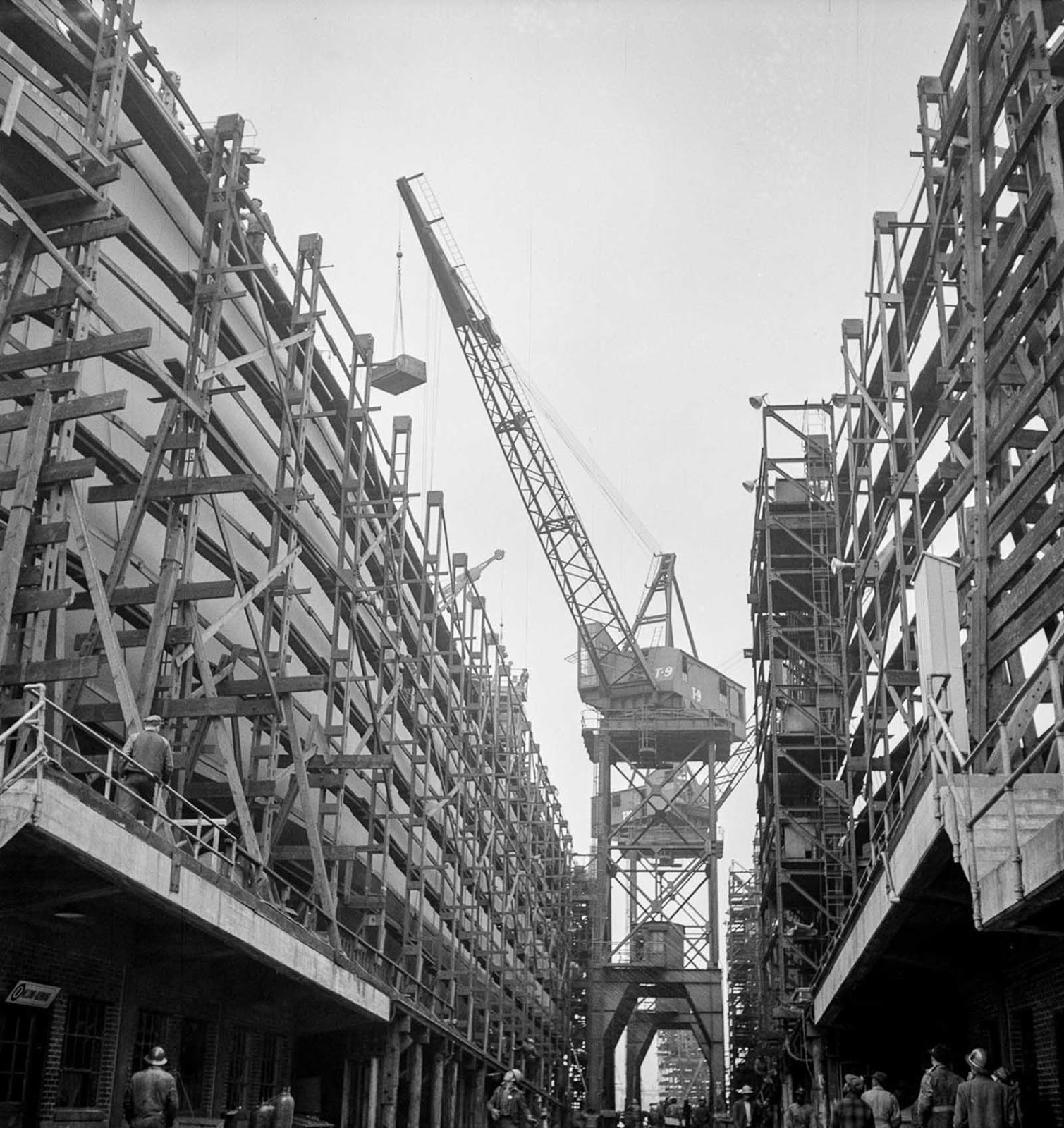 Liberty ships under construction.