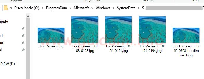 Windows 10 finestra cartella LockScreen con immagini cronologia schermata di blocco