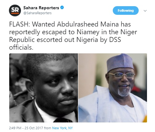 DSS smuggles wanted ex-pension boss Abdulrasheed Maina out of Nigeria to Niger Republic