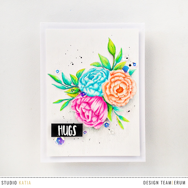 Simon Says Stamp STAMPtember Exclusive from Studio Katia - Blooming Trio. No line pencil colouring with Primacolor pencils.| Erum Tasneem | @pr0digy0