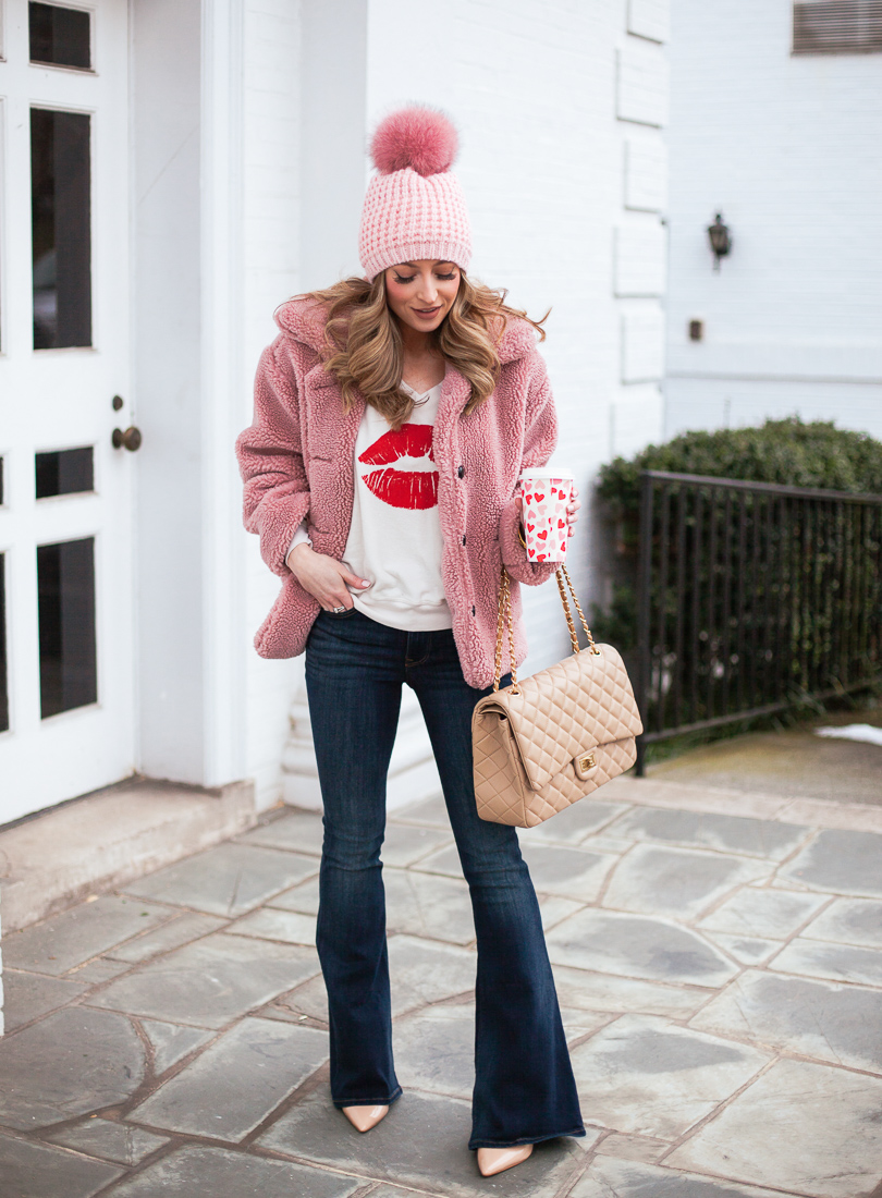 goodnight macaroon valencia pink teddy bear fleece jacket