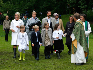 Norwegian Royal Family  attend an outdoor church service in the the Queen's Park