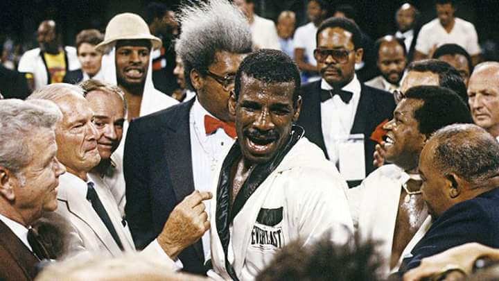Michael Spinks with his handlers and legendary boxing promoter, Don King