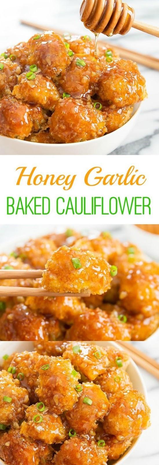 HONEY GARLIC BAKED CAULIFLOWER #honey #garlic #baked #cauliflower #veggies #veganrecipes #vegetarian #vegetarianrecipes