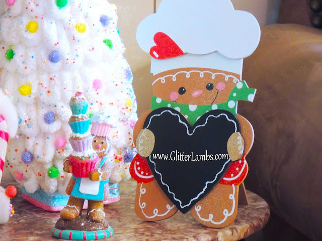 Hobby Lobby Gingerbread Boy Glitter Holding Heart Chalkboard