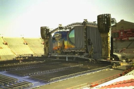 A picture of the main stage of the Rolling Stones Voodoo Lounge Tour taken by Tom Bowser a few hours before the concert. Tom Bowser worked the night of the show.