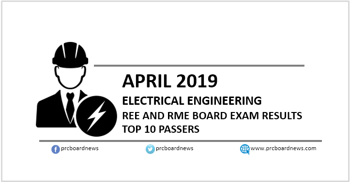EE RESULT: April 2019 Electrical Engineer REE, RME board exam top 10