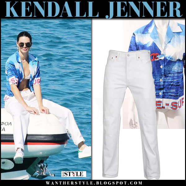 Kendall Jenner in blue surf printed vintage chanel shirt and white sneakers adidas what she wore july 10 2017 mykonos