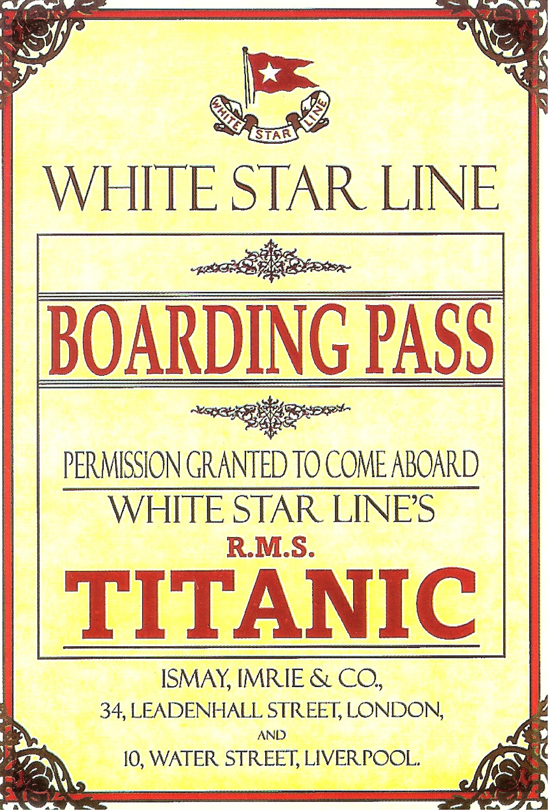 Relevant Tea Leaf Last Dinner On The Titanic Boarding Pass