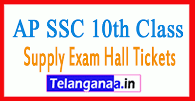 Andhra Pradesh 10th SSC Supply Exam Hall Tickets