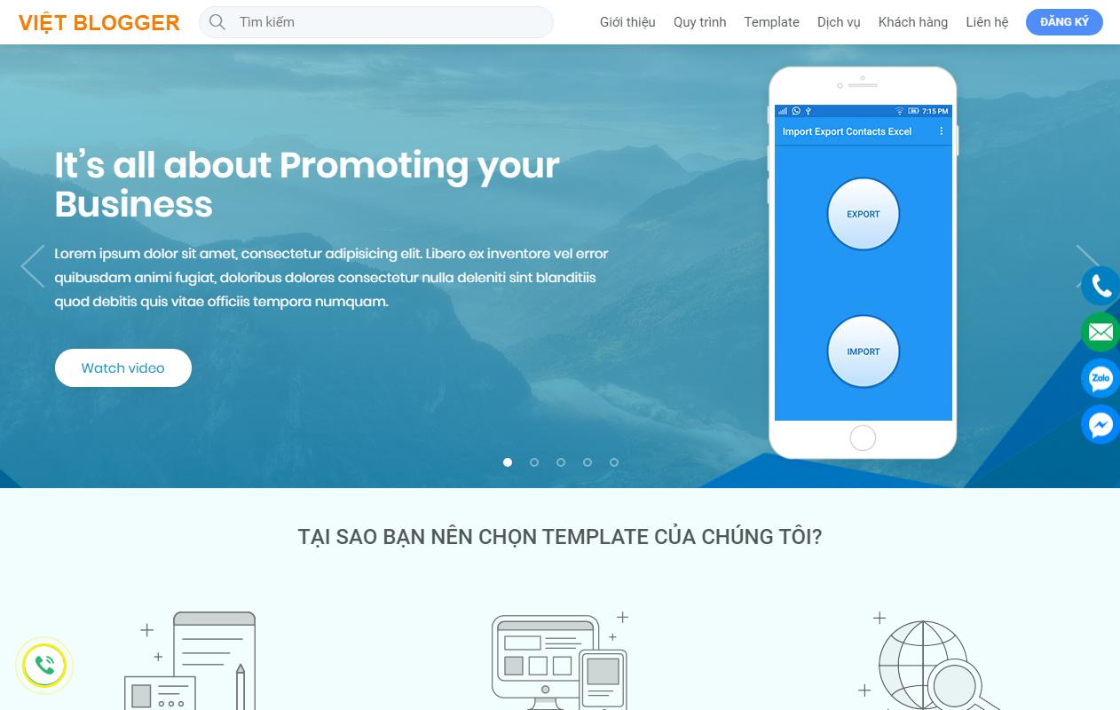 Việt Blogger Design Landing Page Blogger Template