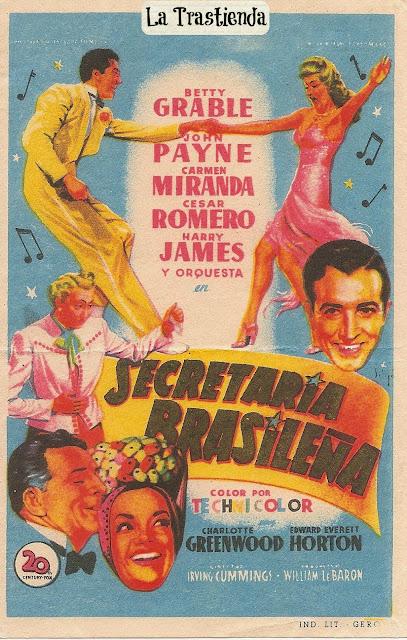 Programa de Cine - Secretaria Brasileña - Betty Grable - Carmen Miranda - César Romero - John Payne