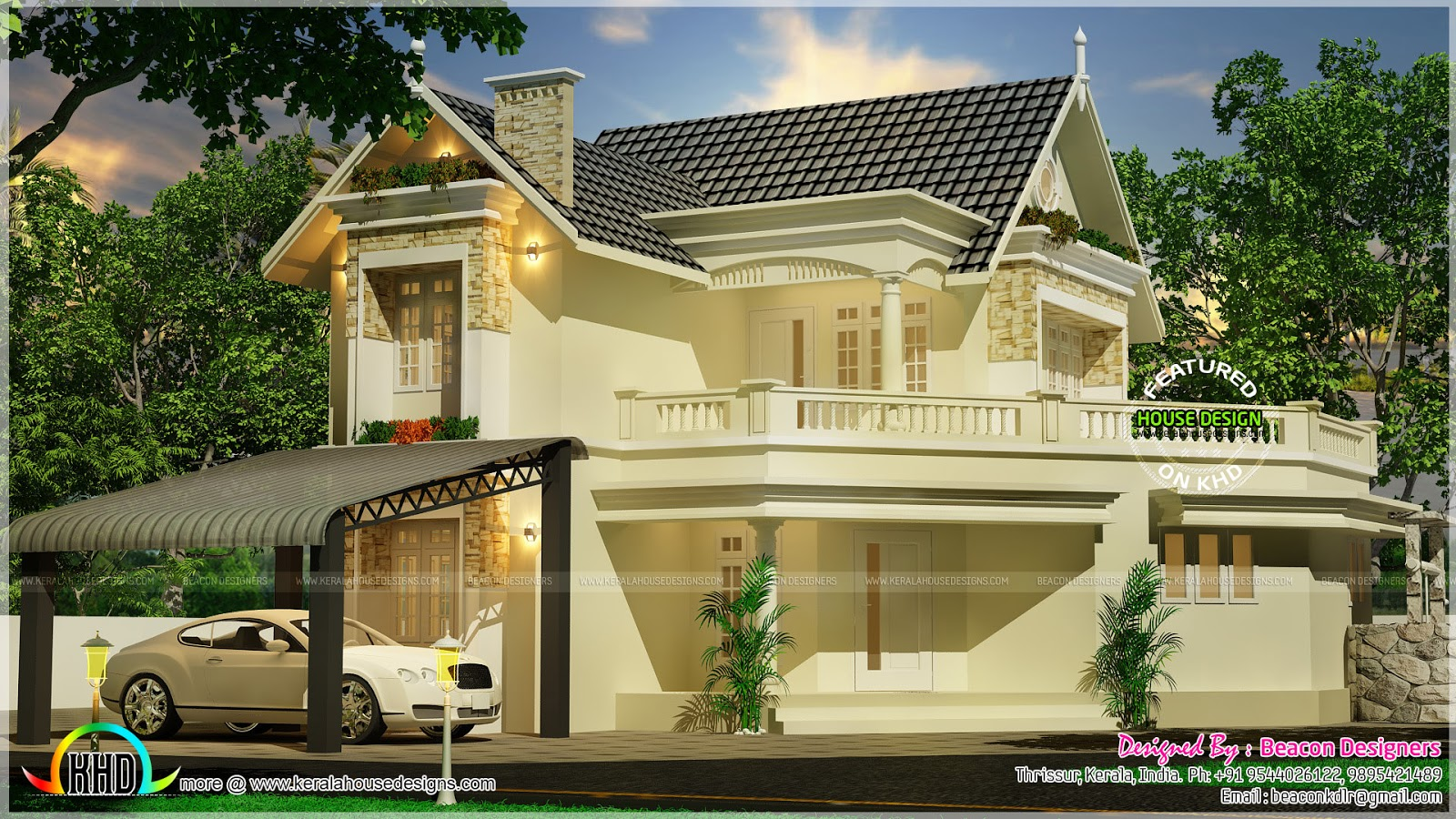 Beautiful swiss model house design kerala home design for Swiss house plans