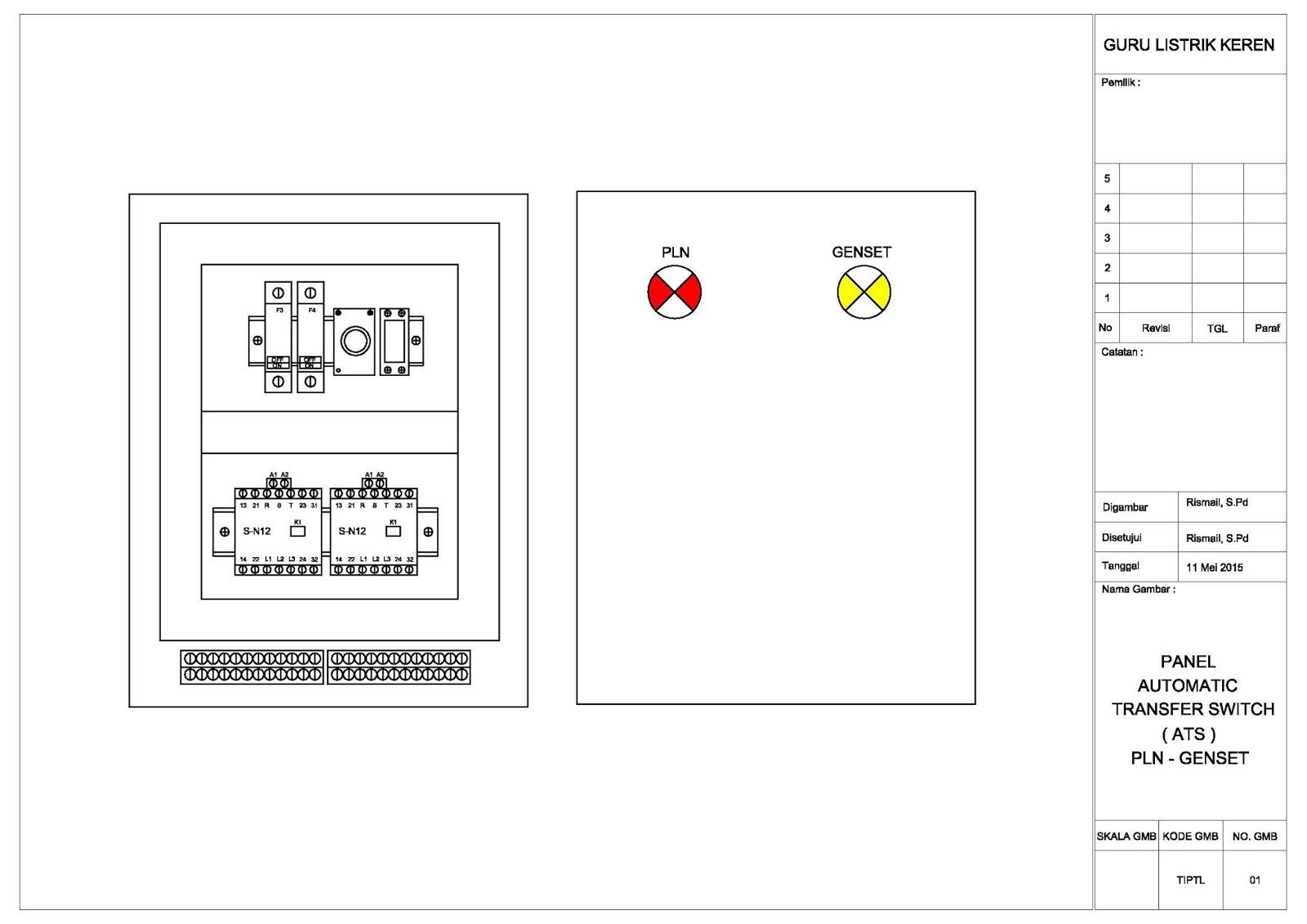 Wiring Ats Sederhana Real Diagram Panel Genset Automatic Transfer Switch Guru Listrik Keren Rh Gurulistrikkeren Blogspot Com Distribution Board