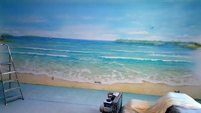Malowanie plaży na ścianie pejzaż morski w pokoju nastolatka, mural 3D przedstawiający pejzaż morski