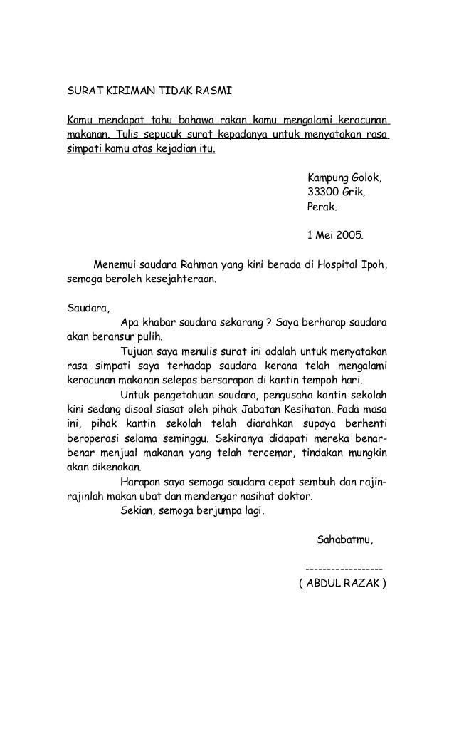 Contoh Karangan Surat Kiriman Tidak Rasmi Kepada Rakan Spm