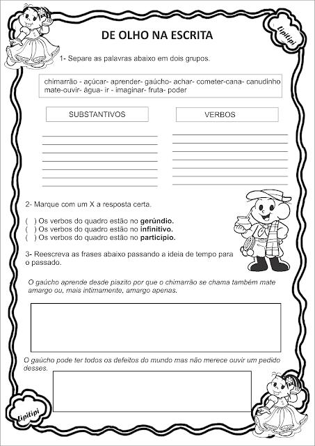 Atividade Semana Farroupilha Texto interpretação e verbos