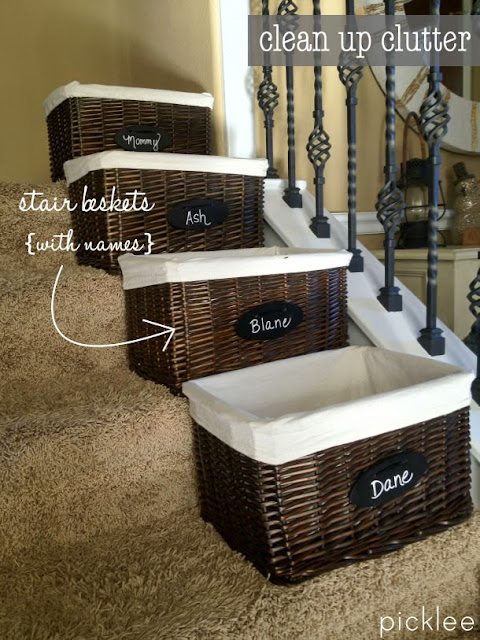 Use baskets for clearing clutter downstairs and hauling upstairs :: OrganizingMadeFun.com