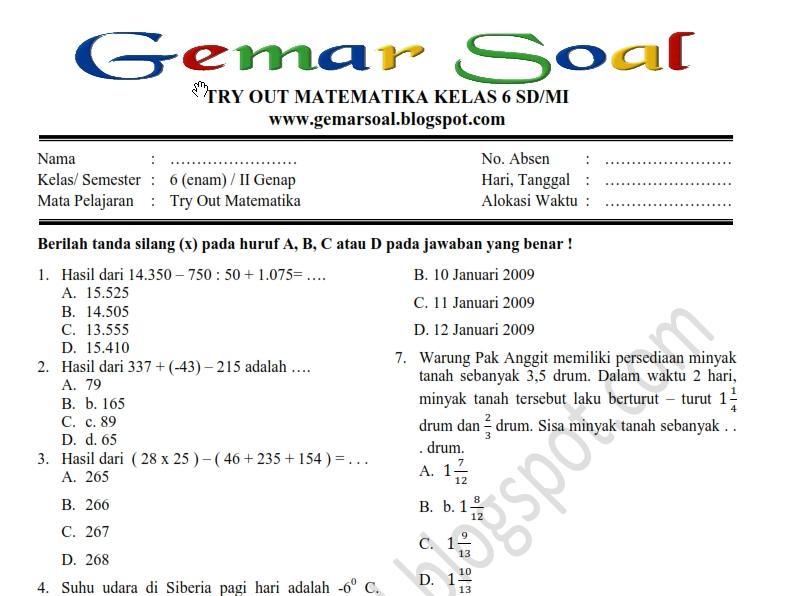 Latihan Soal Try Out Matematika Kelas 6 Guru Ilmu Sosial