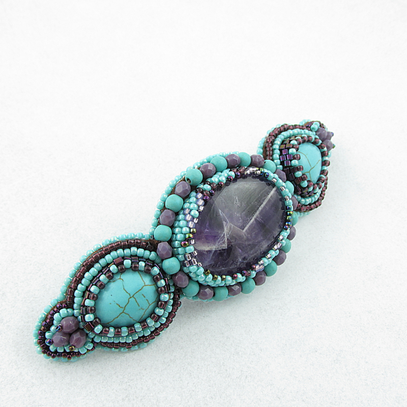 Bead embriodery hair clip