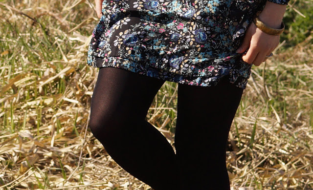 black floral dress in the sunshine