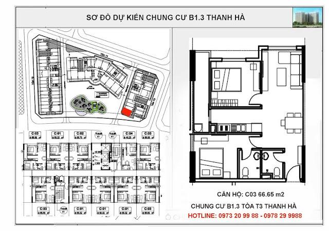Sơ đồ mặt bằng thiết kế căn C03 tòa T3 chung cư B1.3 Thanh Hà