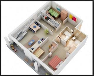 contoh denah rumah minimalis 3 kamar tidur terkini