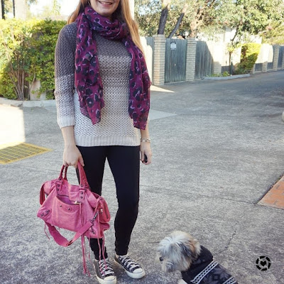 awayfromtheblue Instagram purple leopard print scarf ombre knit skinny jeans and converse winter SAHM style