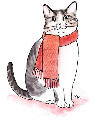 Cat wearing a scarf by Yukié Matsushita