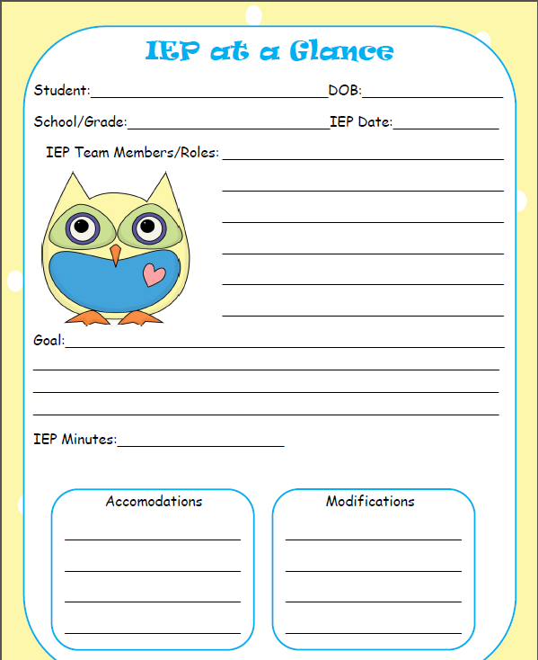 The talking owls iep at a glance freebie for Iep at a glance template