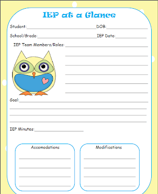iep at a glance template - iep goals for organizational skills ehow party