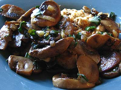 Scrambled Ricotta with Pan-Fried Mushrooms and Scallion