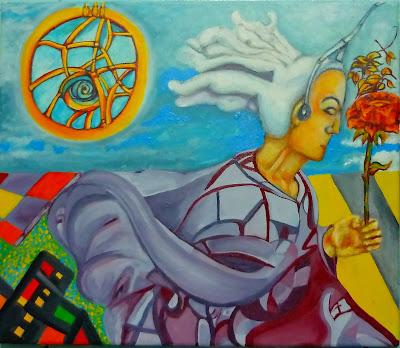 XII Colectiva Nacional de Artes Plásticas 2018, Universidad Nacional Abierta, Caracas, Venezuela.  Gladys Calzadilla, Habitante Disociado, 2018, Pintura Técnica Mixta, Dimensiones Variables.