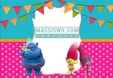 kartu undangan ulang tahun model film Trolls