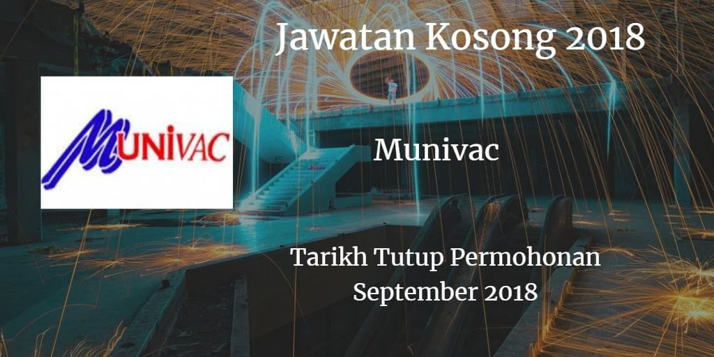 Jawatan Kosong Munivac Sdn Bhd September 2018