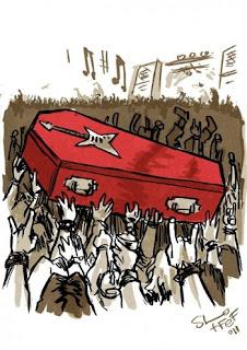 Dessin hommage à Patrick Roy sur fond de Hellfest, trouvé sur le net