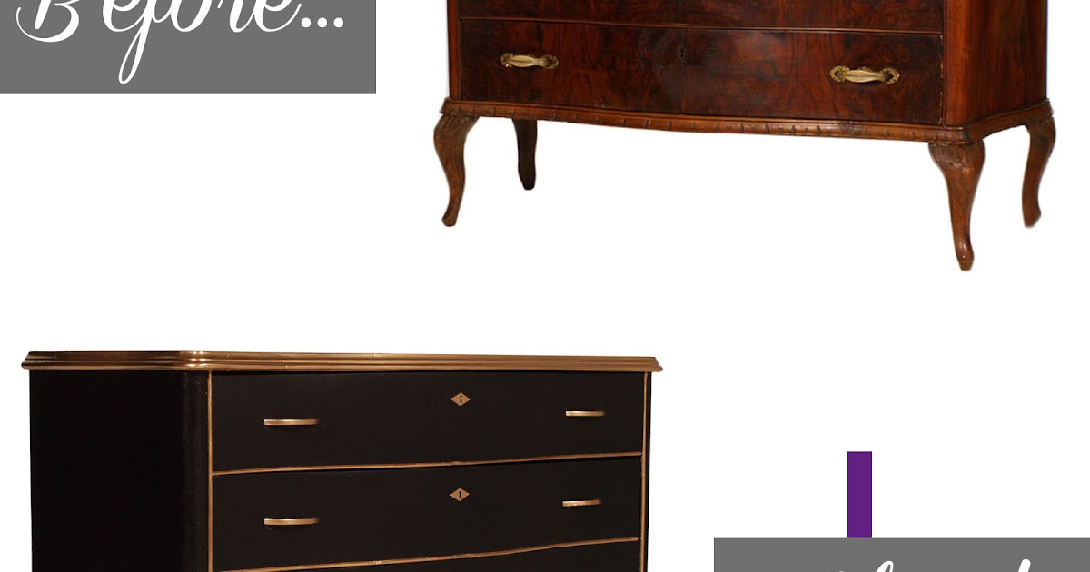 Comò barocco laccato nero oro Baroque black golden chest of drawers before & after