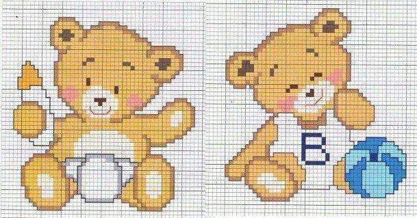 Ricami a punto croce bavaglini per neonati for Immagini punto croce per bambini