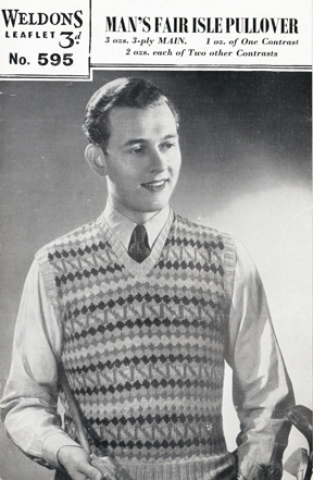The Vintage Pattern Files: Free 1940's Knitting Pattern - Weldons 595  Man's Fair Isle Pullover