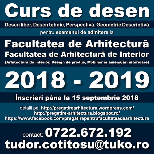 Curs desen - Pregatire pentru examenul de admitere la Facultatea de Arhitectura, Arhitectura de Interior, Design de Produs, Mobilier si Amenajari Interioare