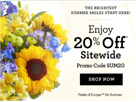 1800Flowers 20% Off Promo Code Summer Smiles