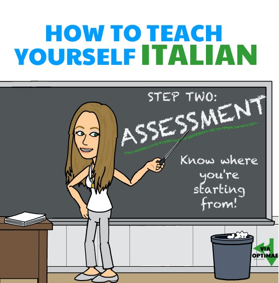 How to teach yourself Italian… Step 02: Assessment Know where you're starting from, Via Optimae, http://www.viaoptimae.com/2014/10/how-to-teach-yourself-italian-step-02.html