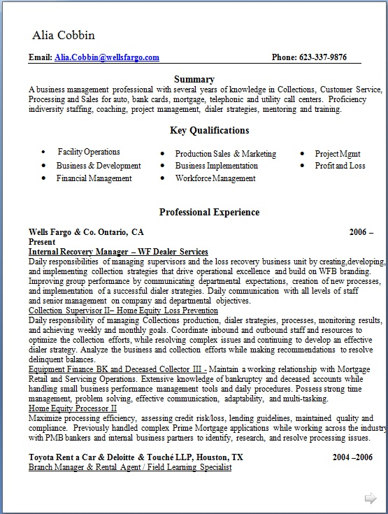 internal recovery manager sample resume format in word