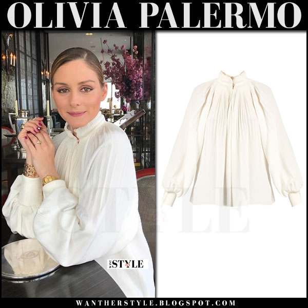Olivia Palermo in white pleated high neck blouse tibi what she wore april 2017 outfit style