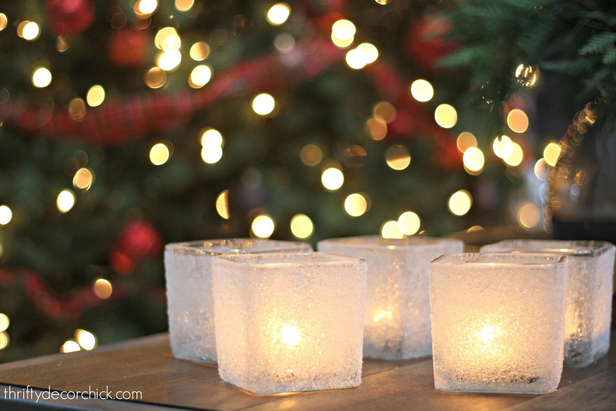 DIY snowy Christmas candle craft