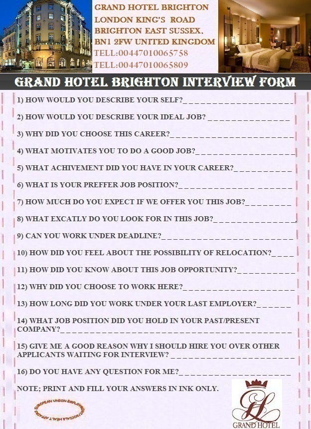 Email Frauds GRAND HOTELS ONLINE INTERVIEW/APPLICATION FORM\u200f\u200f\u200f\u200f