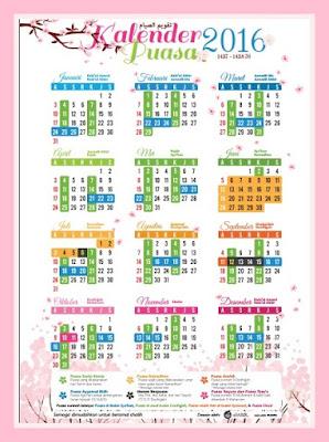 Kalendar puasa dan sunat 1437/1438 hijrah (2016)
