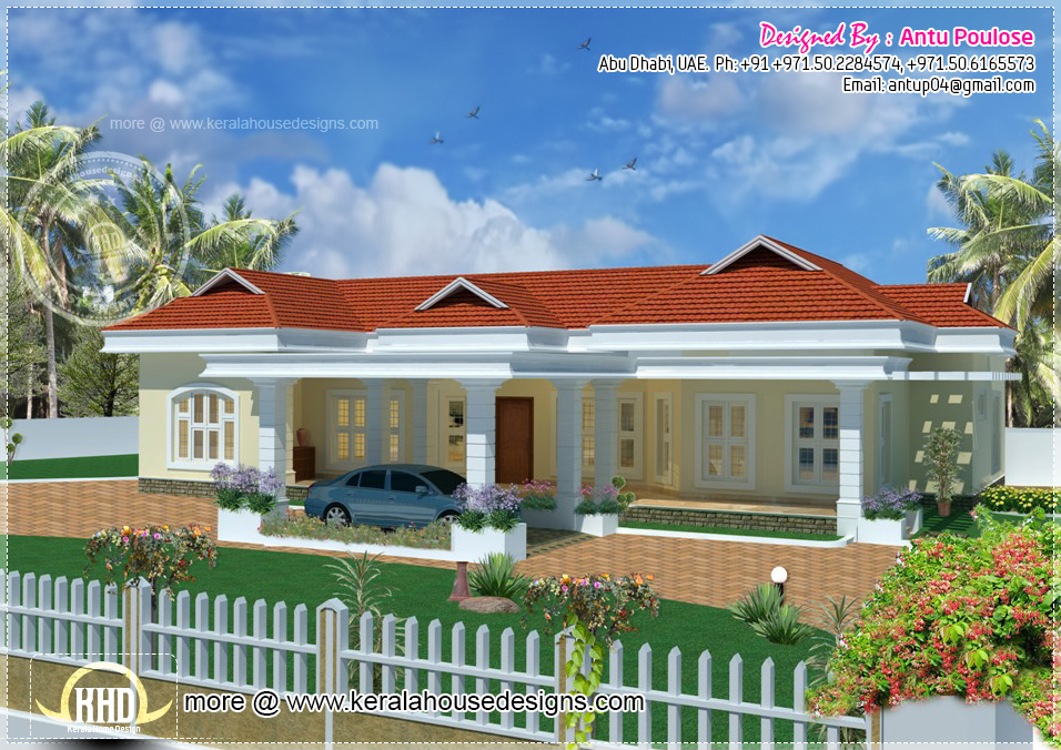 Beautiful bungalow in 2900 square feet kerala home for Indian bungalow designs and floor plans