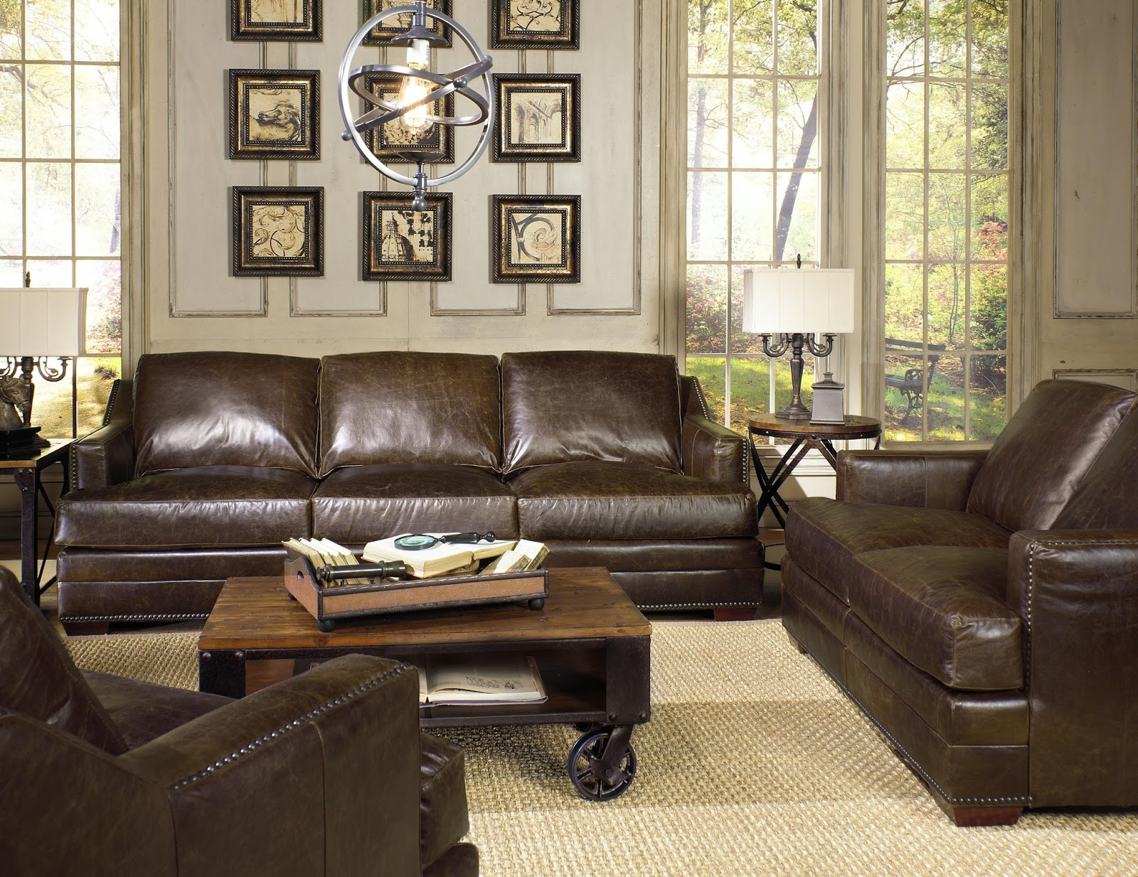 Brown leather sofa with nailhead trim | Furniture Galleries