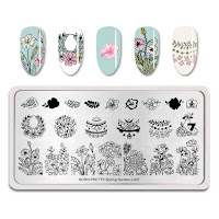 BORN PRETTY Stamping Plates Rectangle Rose Lily Nail Art Stamp Image Template Spring Garden L007
